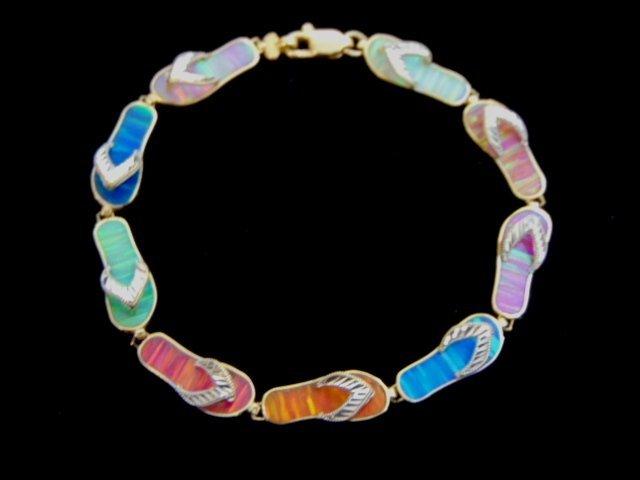 Womens Vintage Estate 14k Gold Sandal Link Bracelet