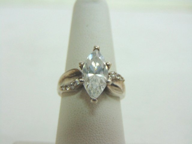 Womens Vintage Estate Sterling Silver CZ Ring 6.1g