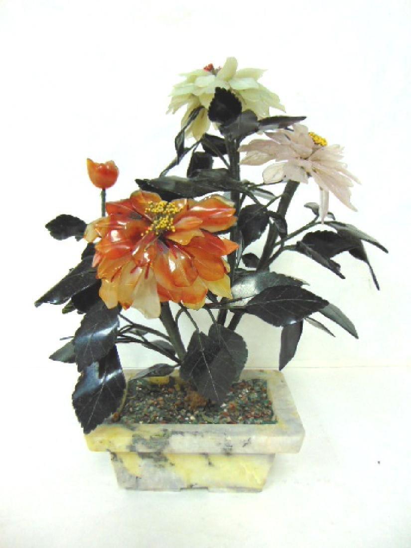 VINTAGE CHINESE JADE LOTUS BLOSSOM FLOWER POT