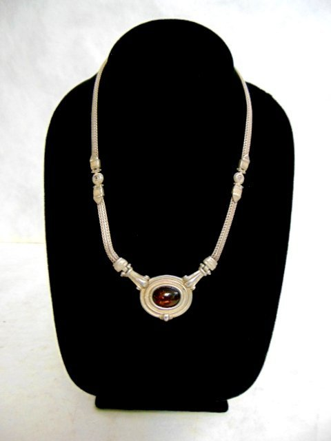 Vintage Estate Sterling Silver Baltic Amber Necklace