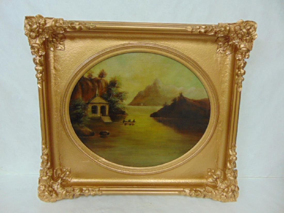 ANTIQUE 19TH C. OIL ON CANVAS FLOOD SCENE PAINTING