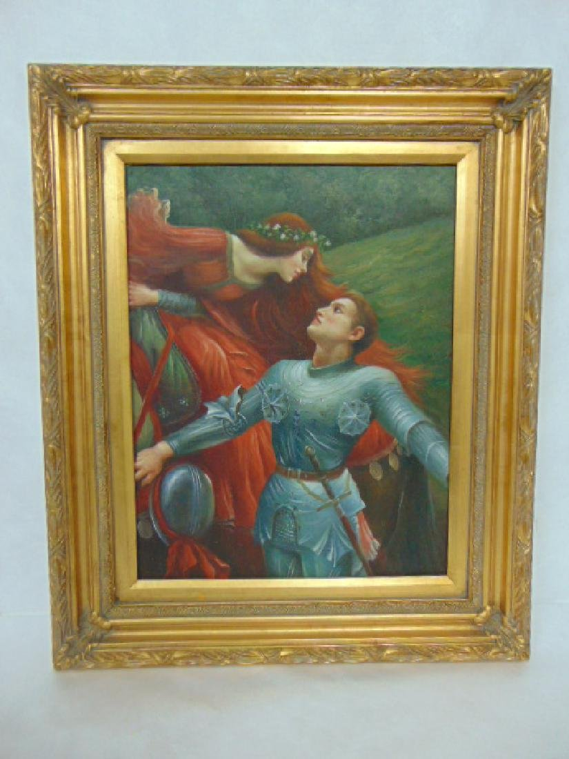 DECORATIVE WOMAN & KNIGHT GICLEE PAINTING ON CANVAS