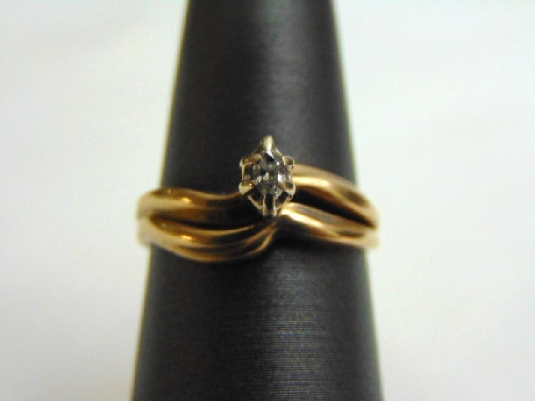 Women Vintage Estate 14k Gold Diamond Ring 2pc Set 3.3g