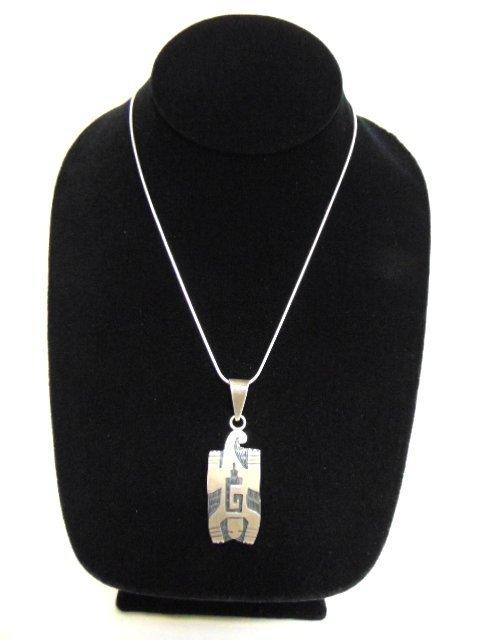 Sterling Silver Necklace W/ Southwestern Pendant