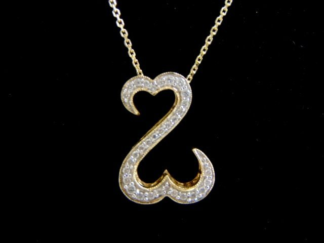 Jane Seymore 14K Necklace W/ Open Heart Diamond Pendant