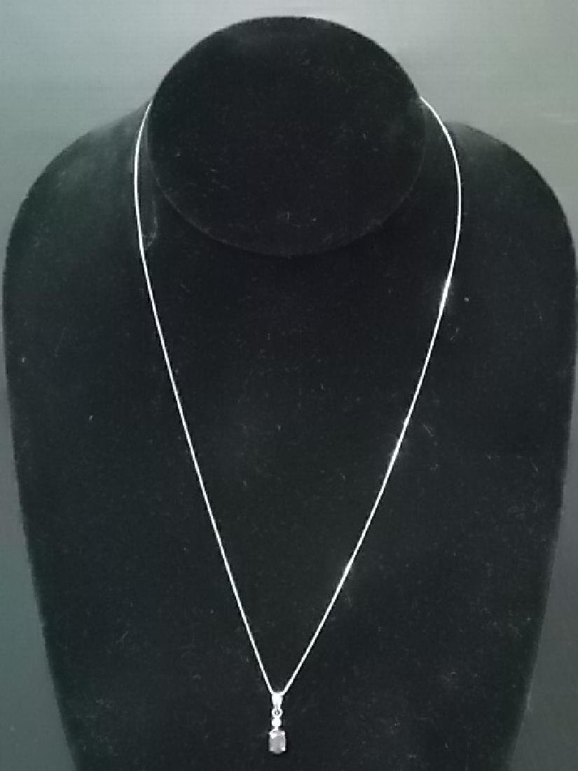 14K Yellow Gold Italian Necklace W/ Rodolite & Diamond