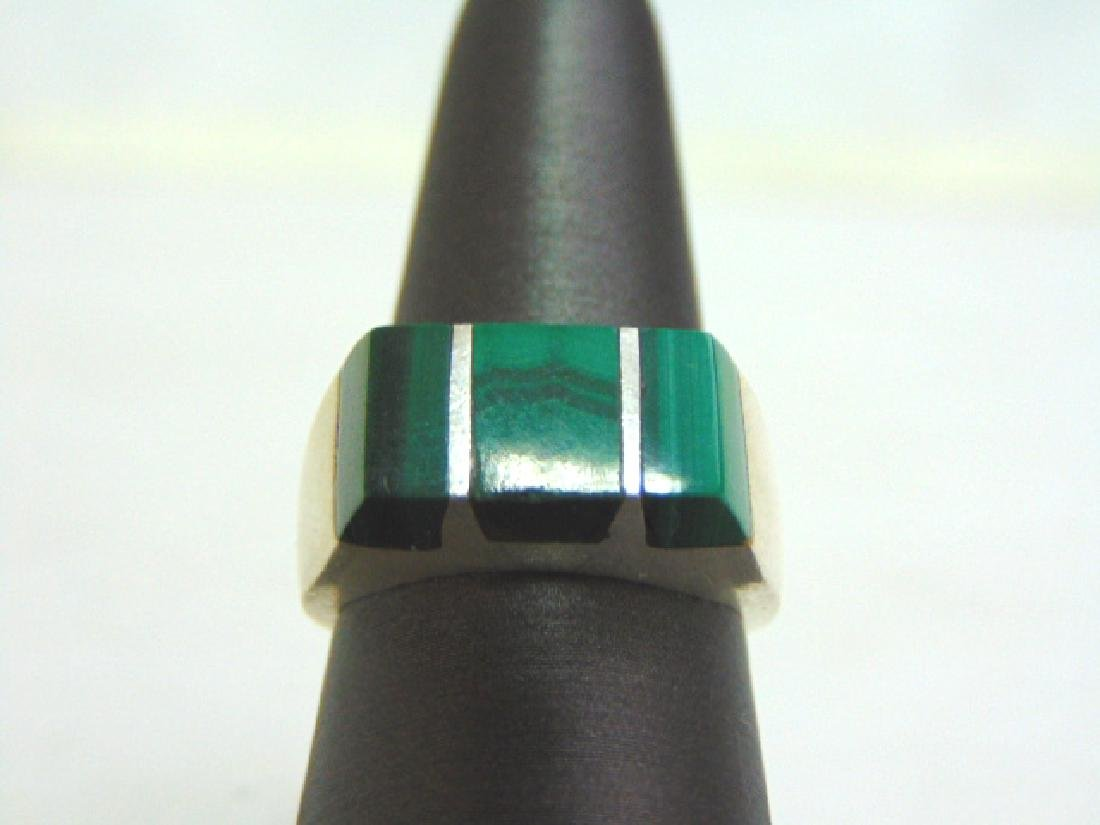Mens Estate Sterling Silver Ring w/ Malachite 13.8g