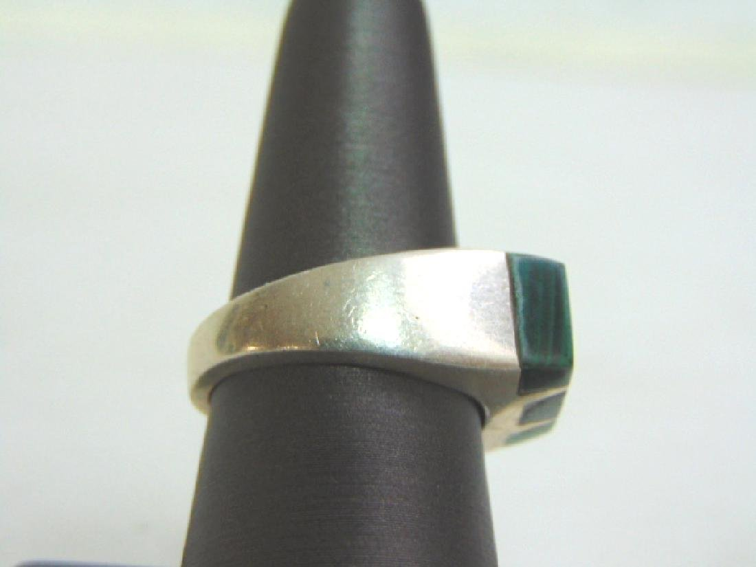 Mens Estate Sterling Silver Ring w/ Malachite 13.8g - 2