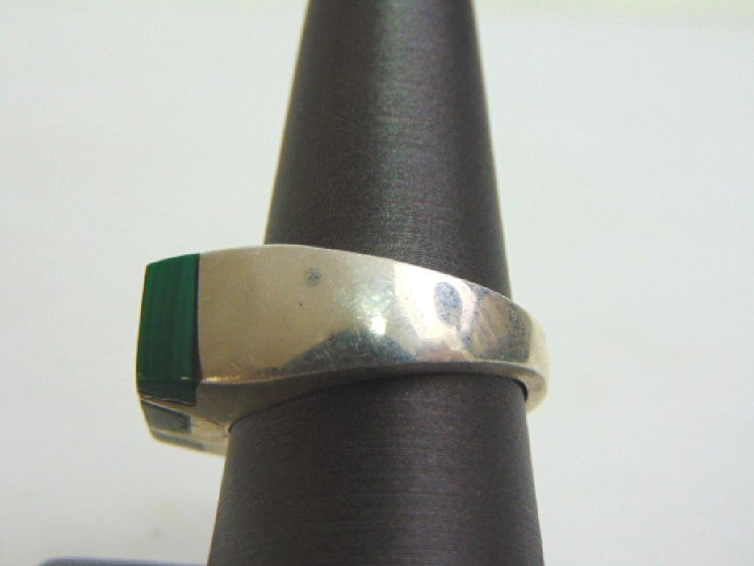 Mens Estate Sterling Silver Ring w/ Malachite 13.8g - 3