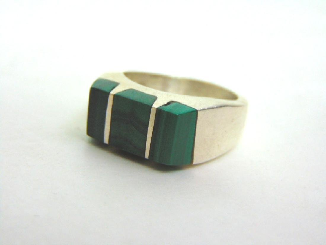 Mens Estate Sterling Silver Ring w/ Malachite 13.8g - 5