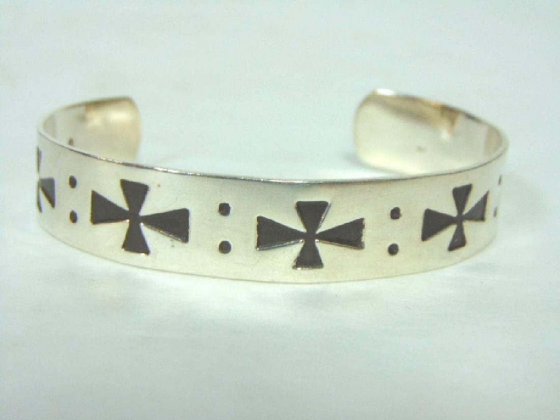 Vintage Estate Sterling Silver Iron Cross Cuff Bracelet