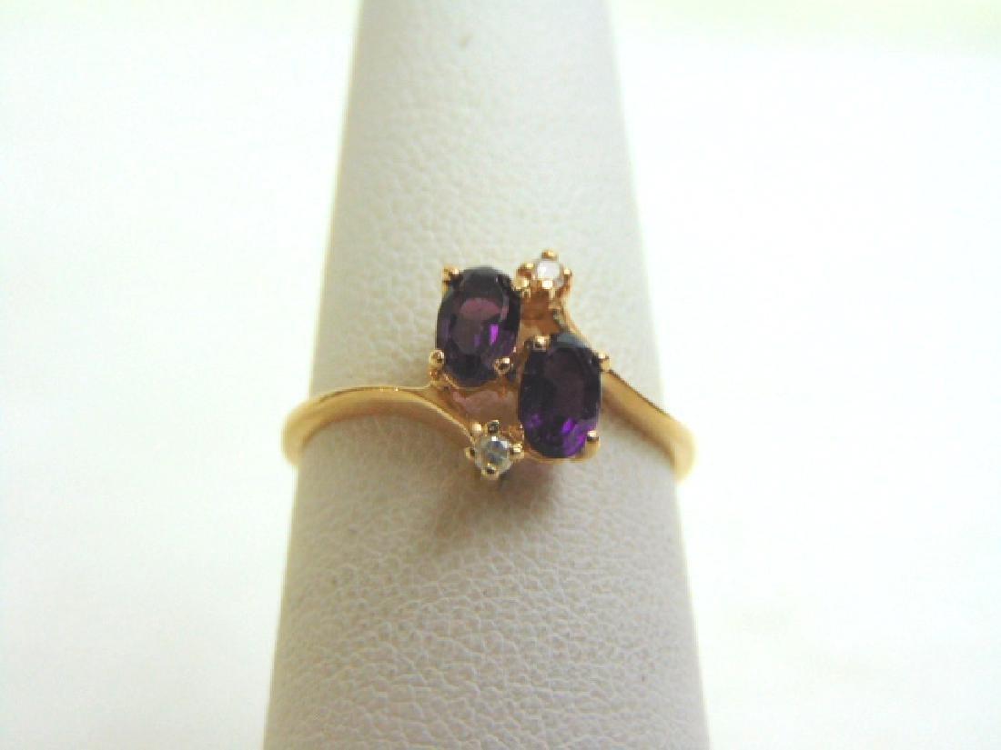 Womens Vintage Estate 14K Gold Amethyst & Diamond