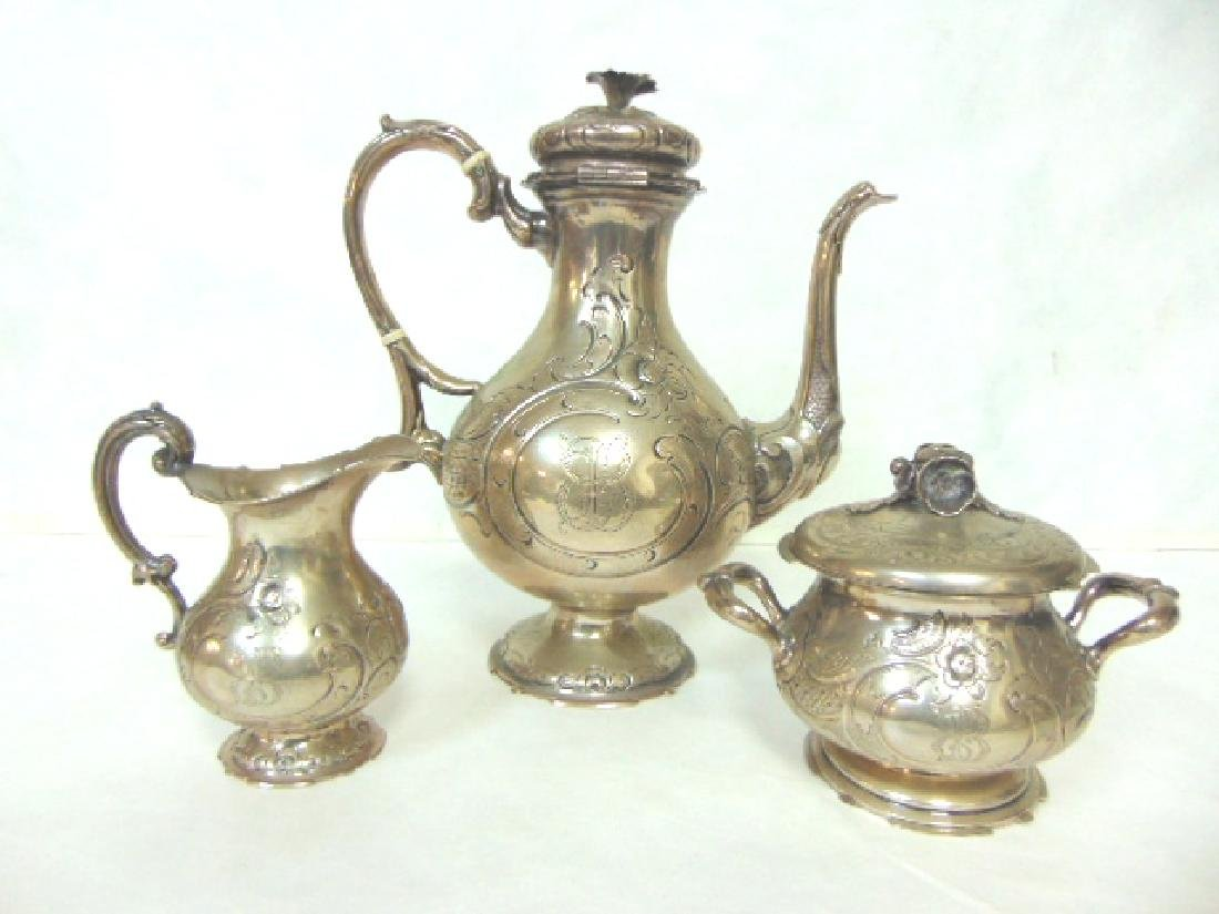 ANTIQUE VICTORIAN AESTHETIC GERMAN COIN SILVER TEA SET