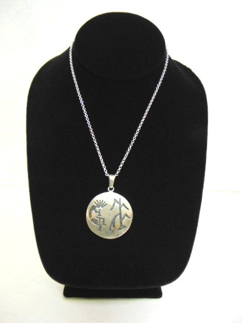 Sterling Silver Necklace W/ Southwestern Kokopelli Pend