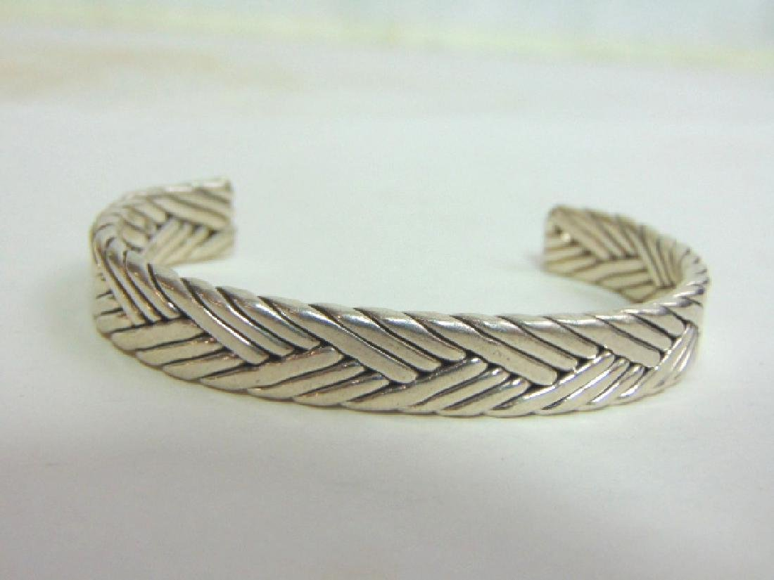Vintage Estate Sterling Silver Weaved Cuff Bracelet