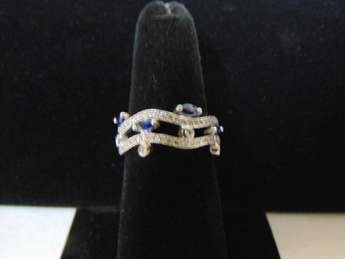 18K White Gold Blue Sapphire & Diamond Ring