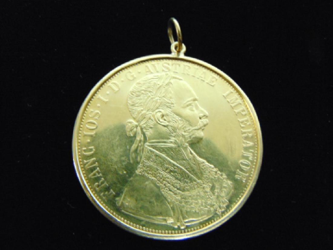 ESTATE FIND 1915 GOLD AUSTRIAN 4 DUCAT COIN PENDANT