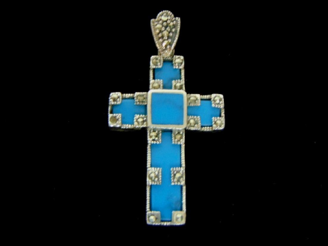 Vintage Estate Sterling Silver Cross Pendant w/ Turquoi