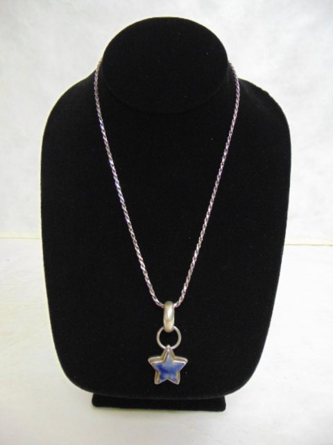 Sterling Silver .925 Italian Rope Necklace w/ Star Pend