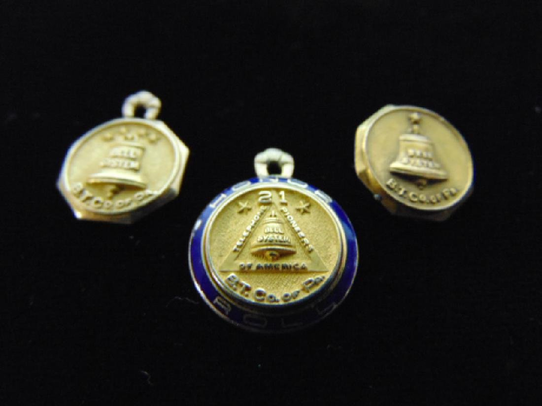 3 Vintage Estate 14k Yellow Gold Bell Telephone Pendant