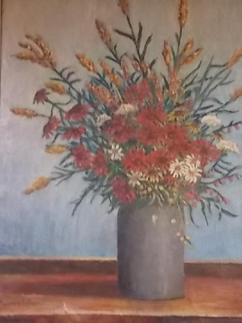 ANTIQUE GODFREY BIEHL LISTED ARTIST FLORAL OIL PAINTING - 2