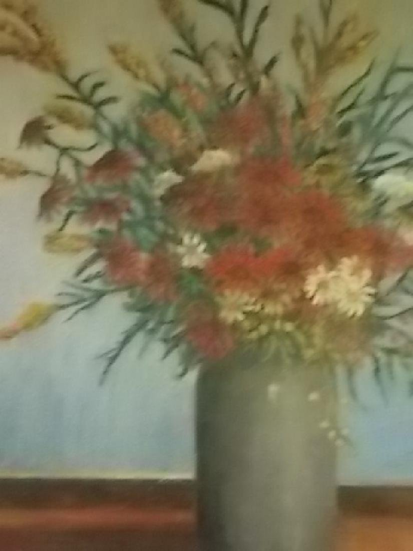 ANTIQUE GODFREY BIEHL LISTED ARTIST FLORAL OIL PAINTING - 3