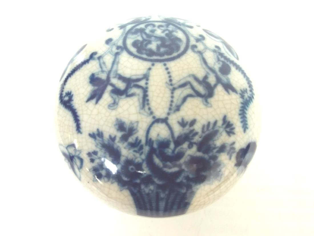 BLUE & WHITE FLORAL VICTORIAN STYLE PORCELAN VANITY BOX - 2