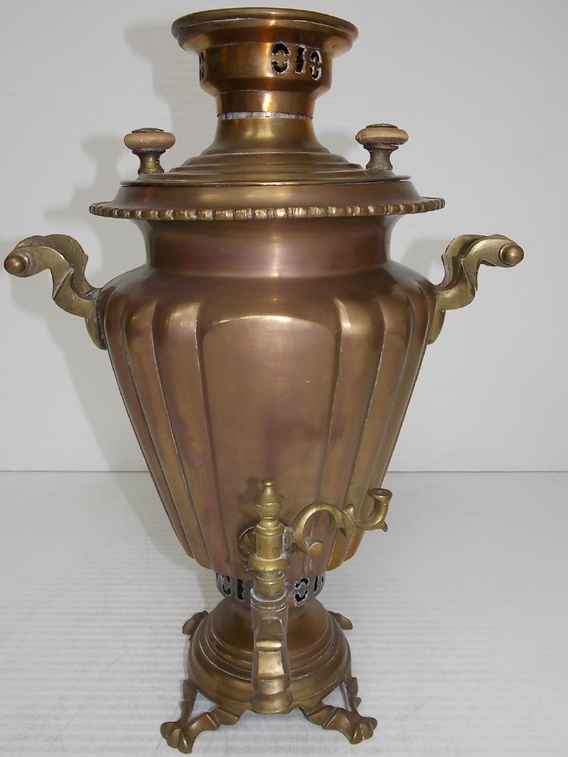 ANTIQUE BRASS RUSSIAN SAMOVAR COFFEE POT