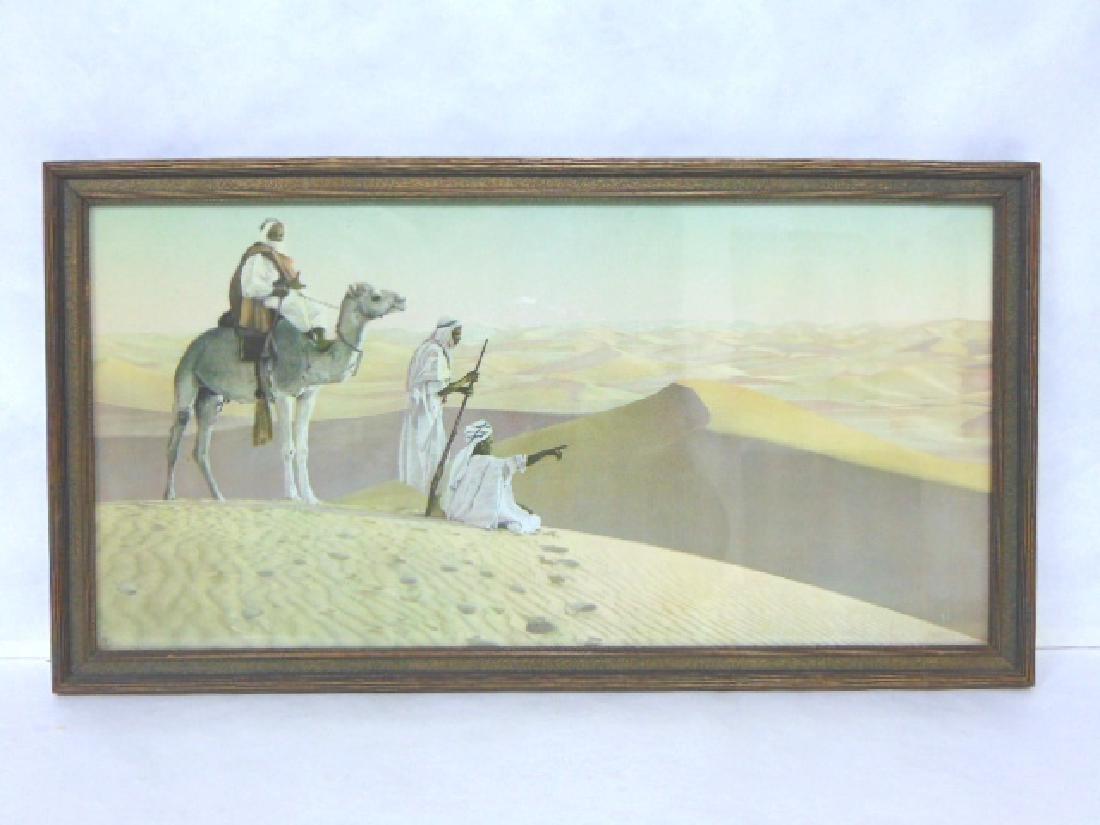 ANTIQUE MIDDLE EASTERN DESERT CAMEL PRINT LITHO