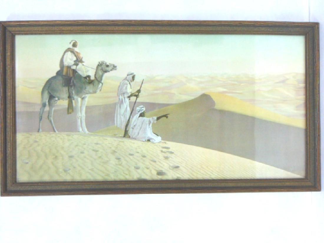 ANTIQUE MIDDLE EASTERN DESERT CAMEL PRINT LITHO - 4