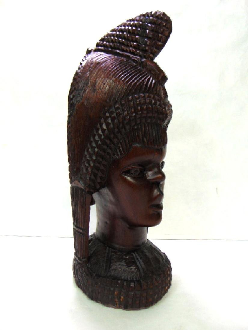 VINTAGE ANTIQUE HAND CARVED AFRICAN PRINCESS BUST - 3