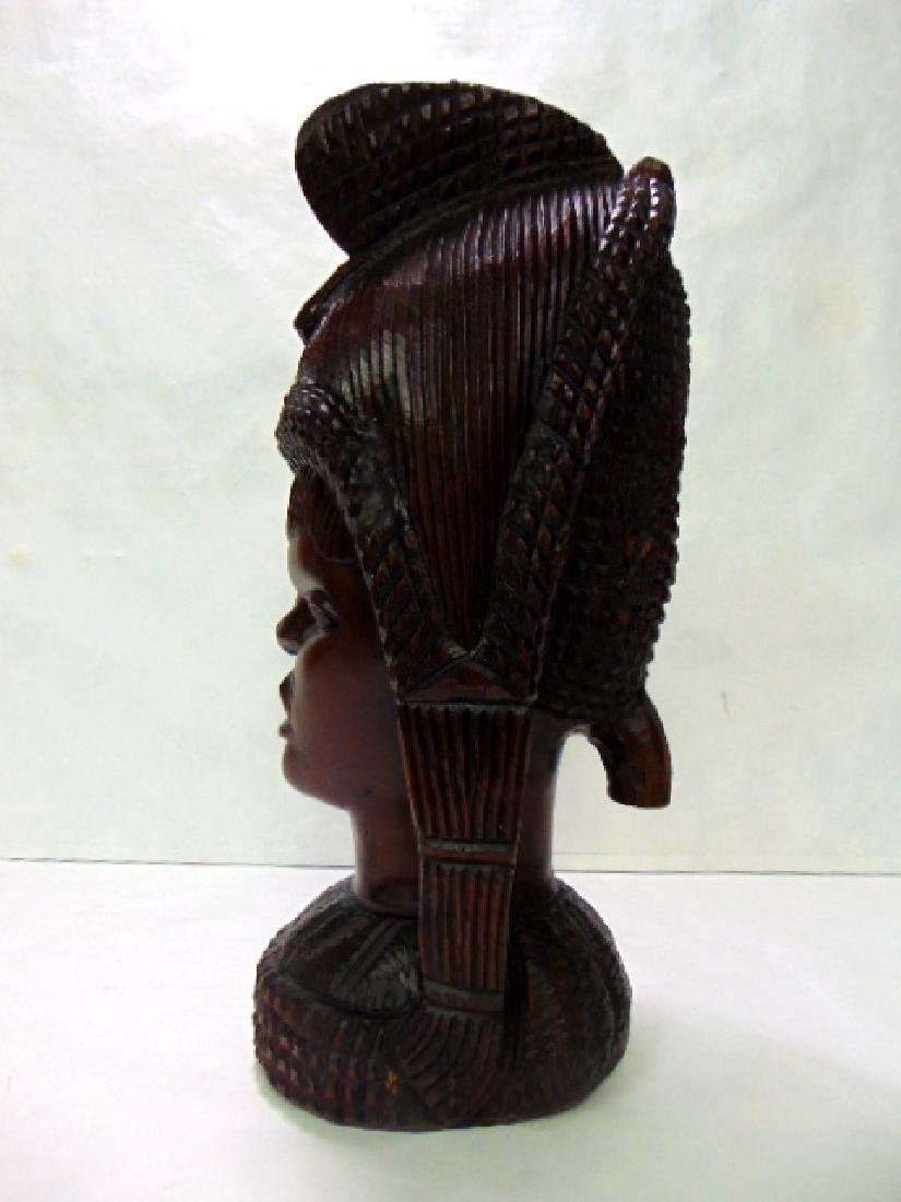 VINTAGE ANTIQUE HAND CARVED AFRICAN PRINCESS BUST - 5