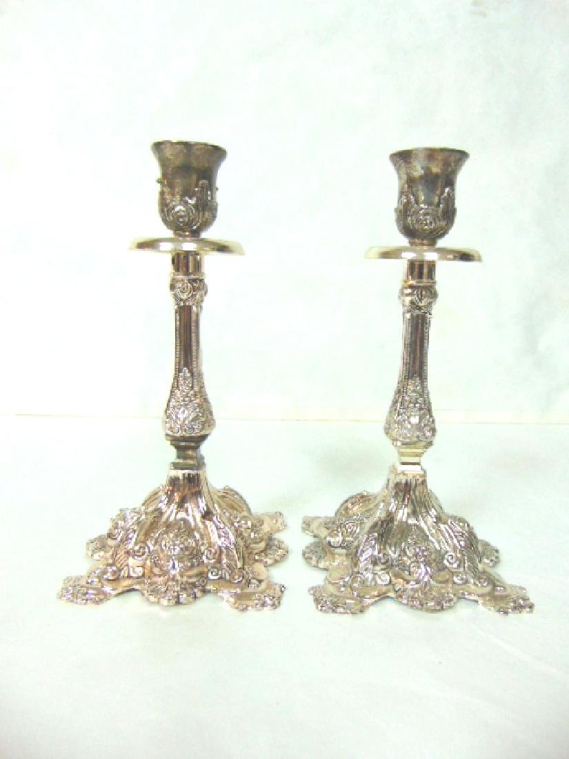 DECORATIVE SILVER ELECTROPLATE JERUSALEM CANDLESTICKS
