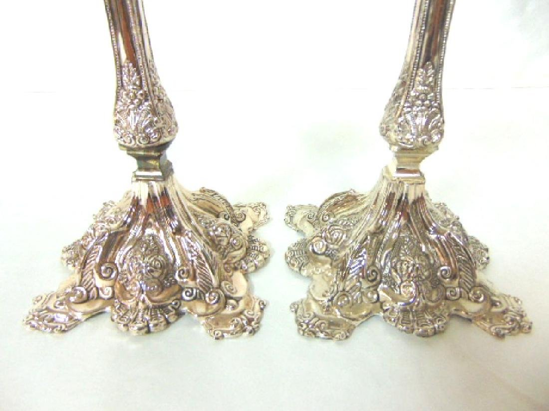 DECORATIVE SILVER ELECTROPLATE JERUSALEM CANDLESTICKS - 2