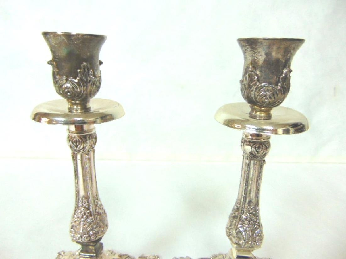 DECORATIVE SILVER ELECTROPLATE JERUSALEM CANDLESTICKS - 3