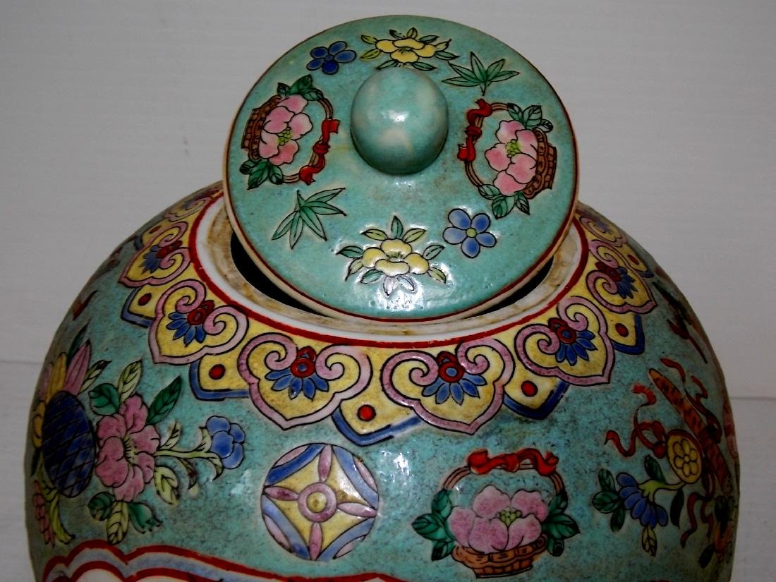 VINTAGE CHINESE GINGER JAR WITH RAISED PAINT - 7