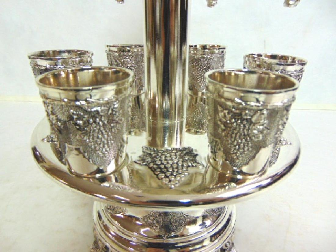 925 SILVER ELECTROPLATED 12 CUP JUDAICA WINE DISPENSER - 3