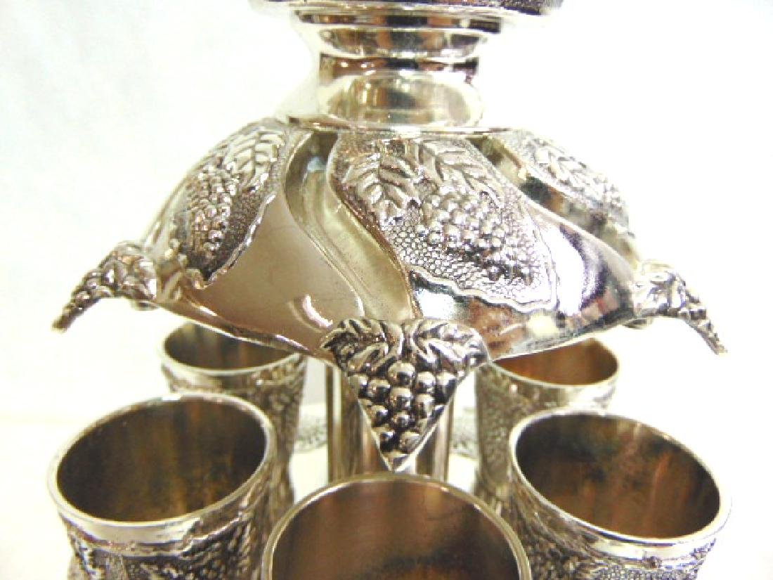 925 SILVER ELECTROPLATED 12 CUP JUDAICA WINE DISPENSER - 5