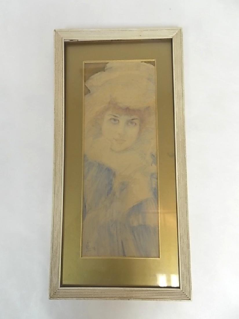 ANTIQUE FRENCH VICTORIAN DECO FEMALE WATERCOLOR SIGNED