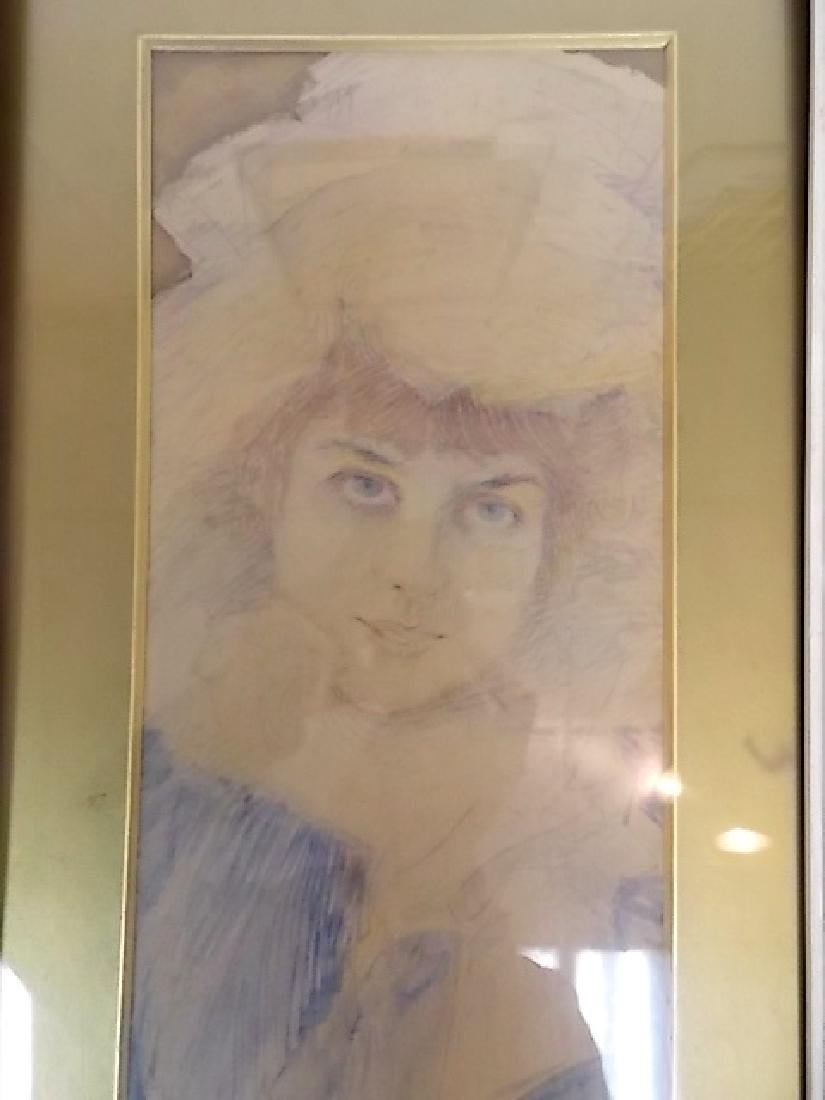 ANTIQUE FRENCH VICTORIAN DECO FEMALE WATERCOLOR SIGNED - 2
