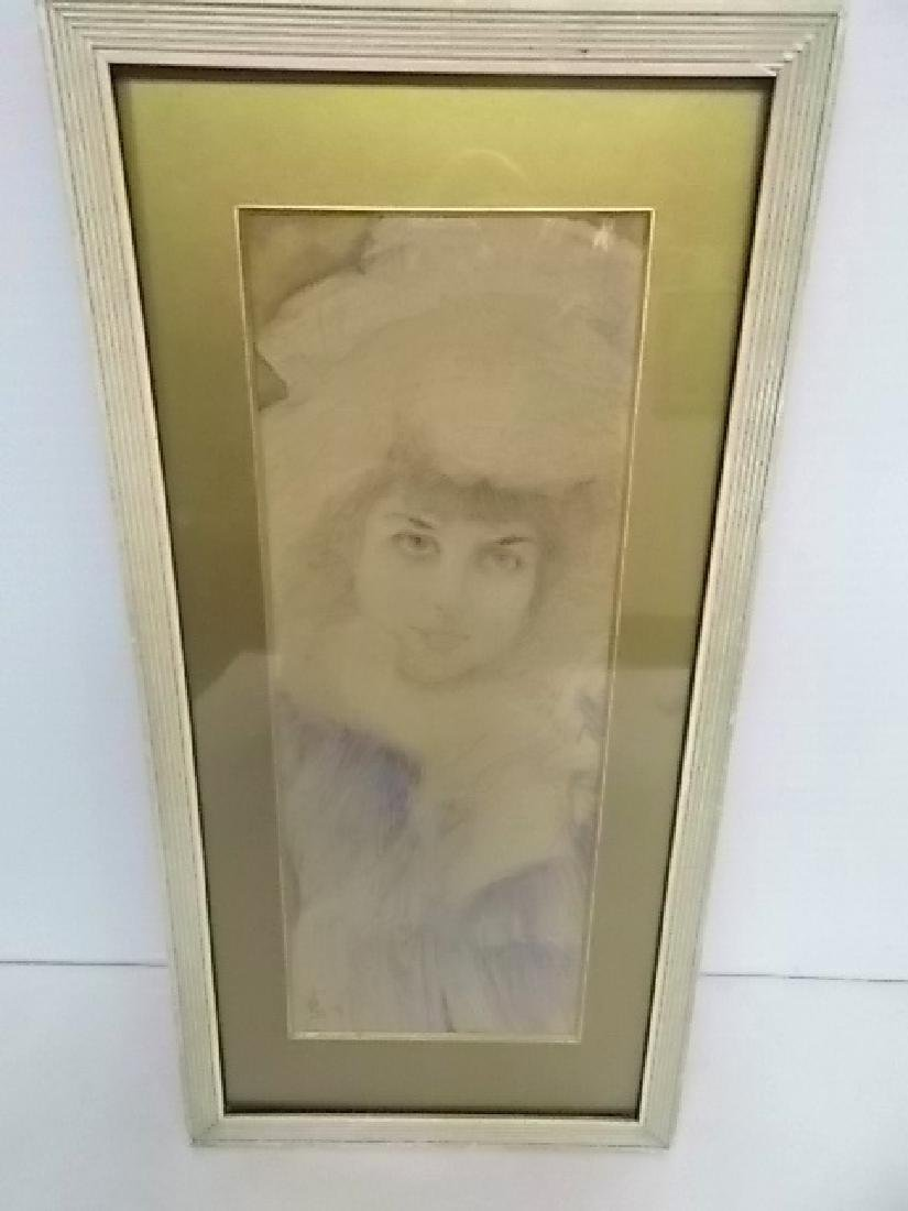 ANTIQUE FRENCH VICTORIAN DECO FEMALE WATERCOLOR SIGNED - 4