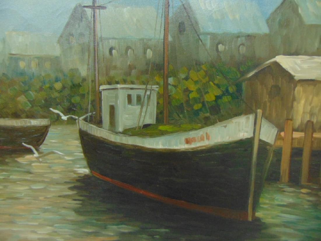 VINTAGE OIL ON CANVAS SEASCAPE PAINTING JEAN AMIOT - 5