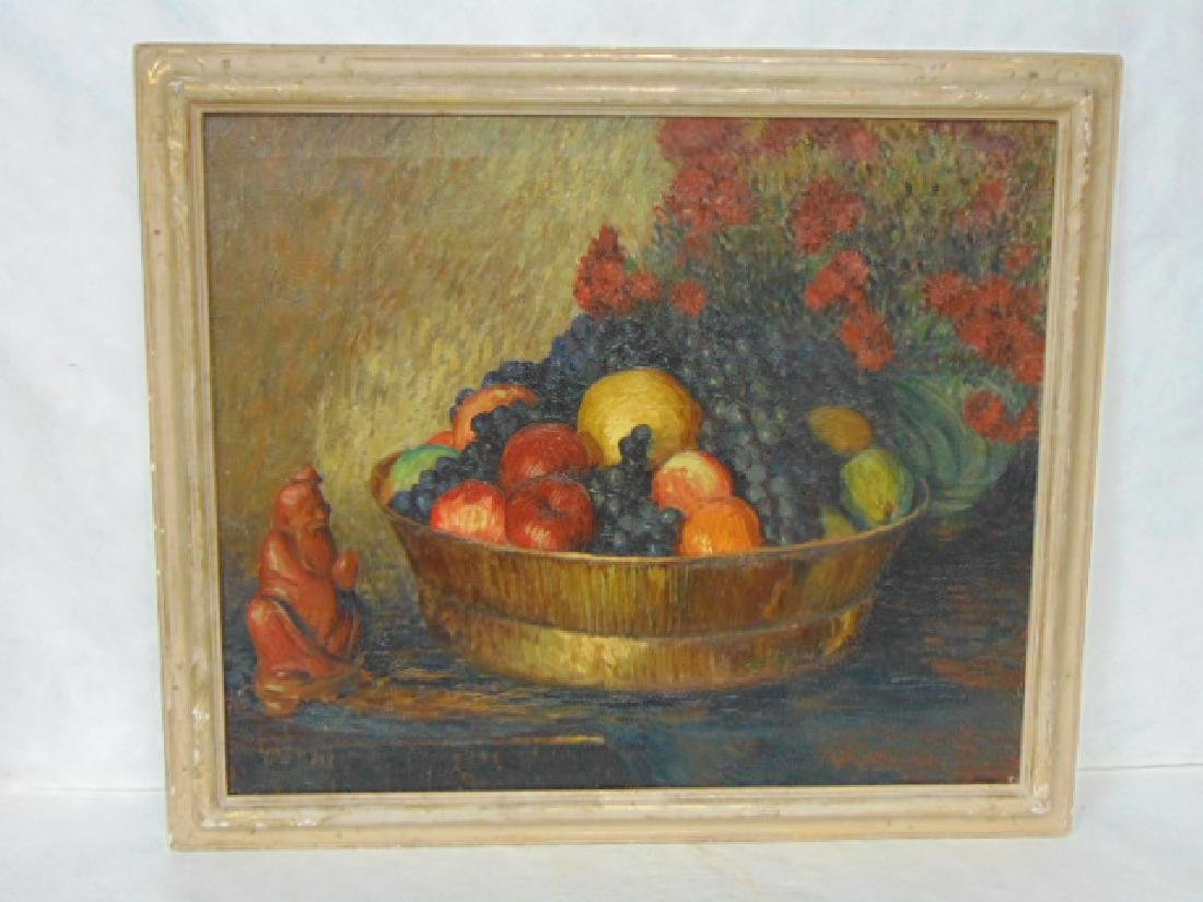 VINTAGE OIL ON CANVAS STILL LIFE BY FRED ALLEN
