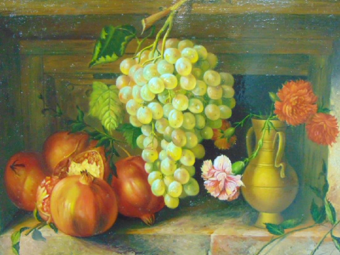 AMAZING ANTIQUE STILL LIFE OIL PAINTING ON COPPER - 2