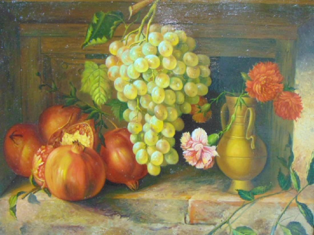 AMAZING ANTIQUE STILL LIFE OIL PAINTING ON COPPER - 3