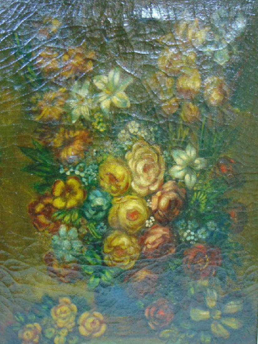 19TH C. ANTIQUE OIL ON CANVAS FLORAL PAINTING - 2