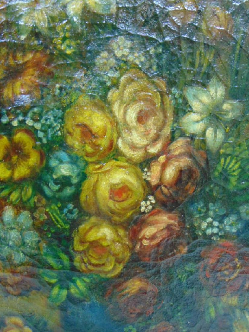 19TH C. ANTIQUE OIL ON CANVAS FLORAL PAINTING - 3