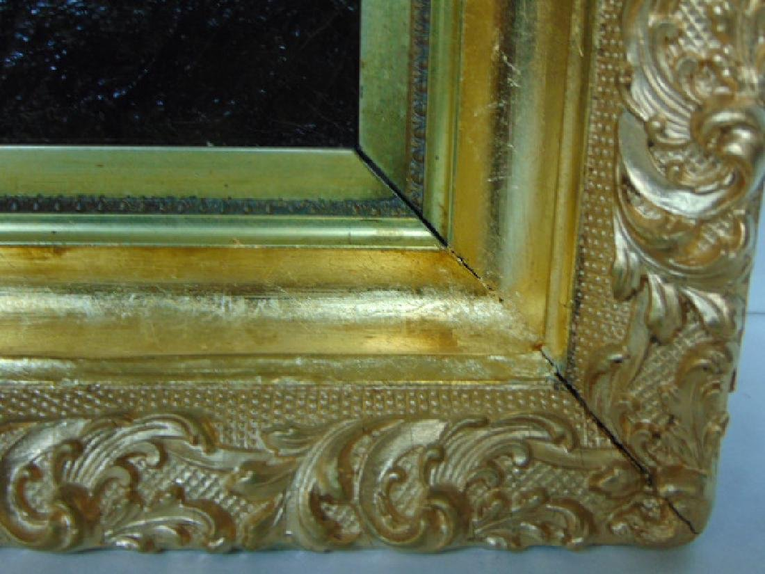19TH C. ANTIQUE OIL ON CANVAS FLORAL PAINTING - 5