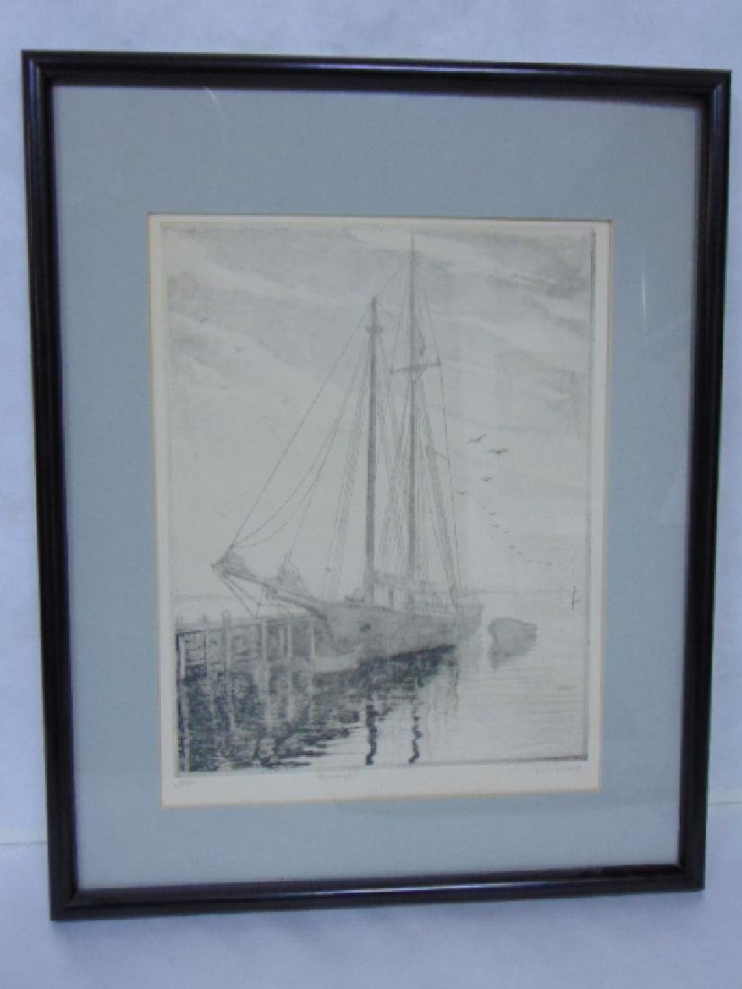 Antique Pencil Signed DON SWANN Boat Harbor Etching