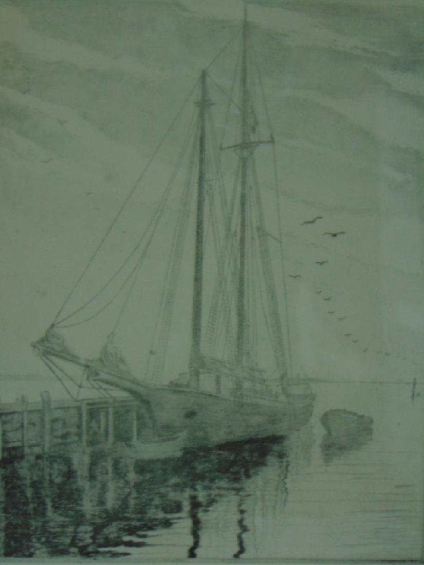 Antique Pencil Signed DON SWANN Boat Harbor Etching - 2